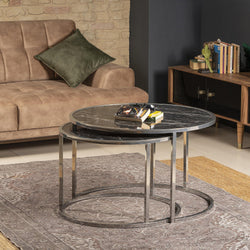 Tambur Metal-Manufactured Wood Round Nesting Coffee Table - Set of 2 - Decorotika