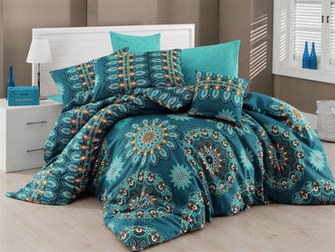 Hula 4 Piece Full Size Turquoise Duvet Cover Double Quilt Bedding Set - Combination of Turquoise, Cream, White, Green and Black Colors - Decorotika