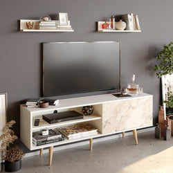 "Pi 63"" Wide TV Stand and Entertainment Center with Wall Shelves for TVs up to 72"""