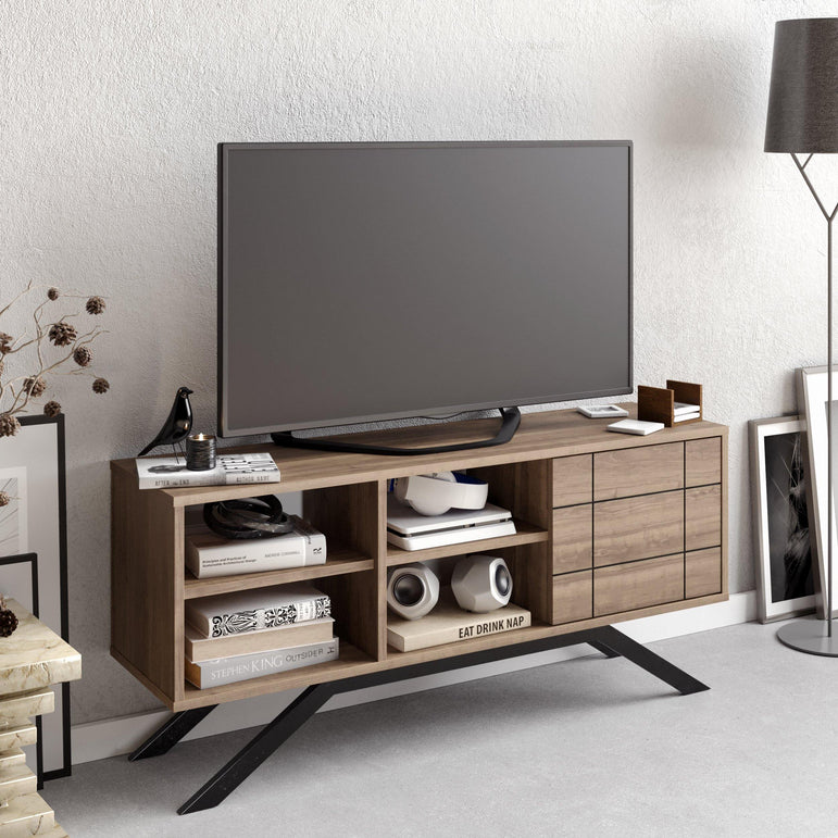 "North 51"" TV Stand and Media Console with A Cabinet and Shelves"