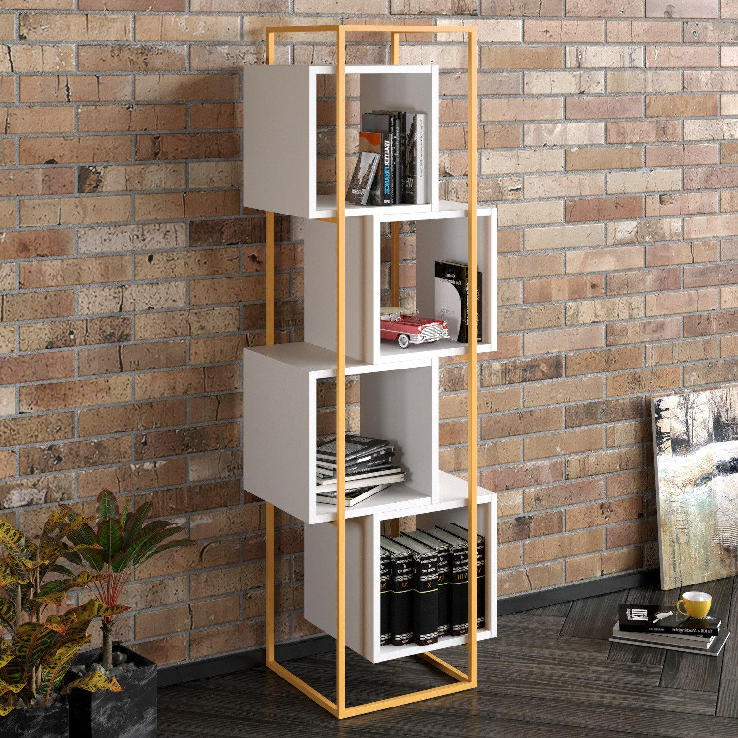 Prada 63'' Tall Metal Wood Bookcase - Decorotika
