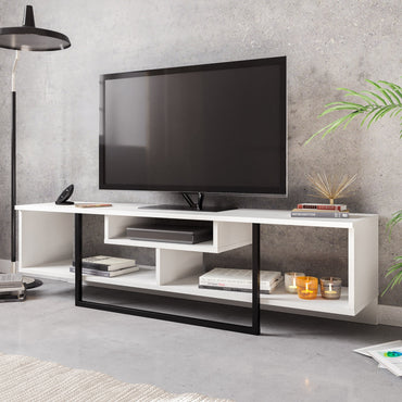 "Asal 59"" Wide Metal Wood TV Stand & Media Console for TVs up to 68"" - Decorotika"