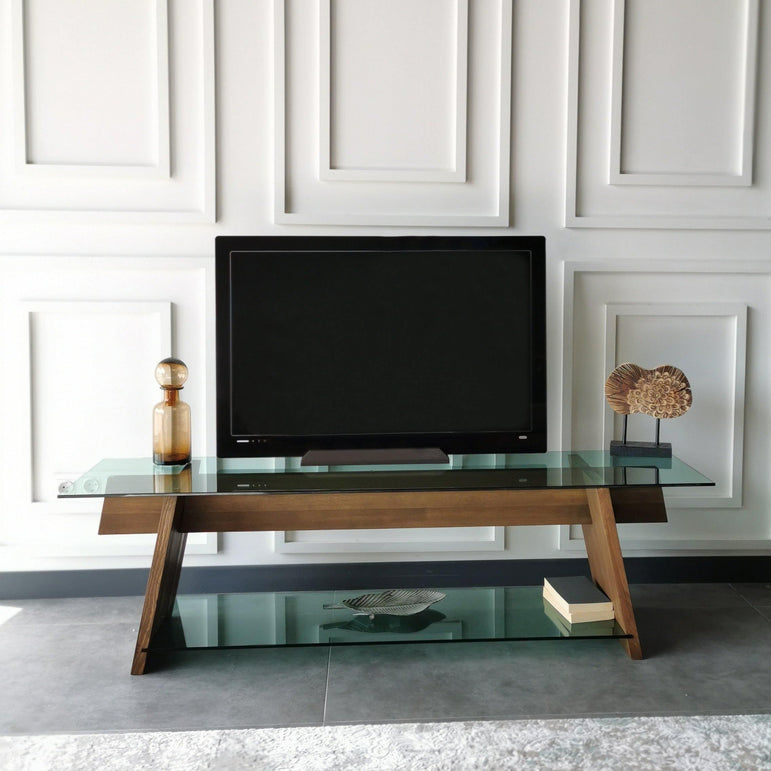 "Genova 62"" Wide TV Stand & Media Console with Tempered Glass Shelves for TVs up to 70"""