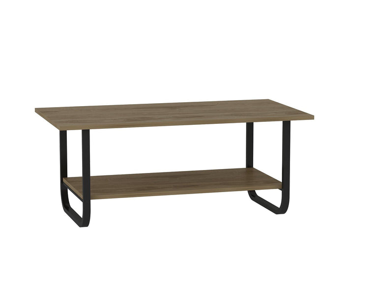 Uptown Industrial Metal Wood U-Profile Modern Accent Coffee/Cocktail Table with Bottom Storage Shelf - Oud Oak and Black - Decorotika