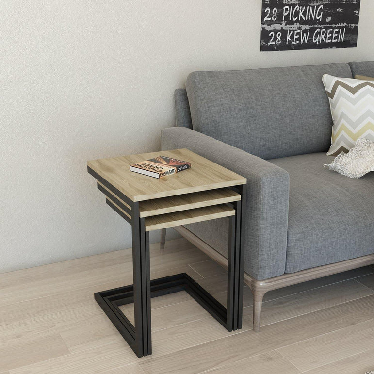 Zegaro 3-Piece Modern Side End Nesting Coffee/Cocktail Table Set - Assembled and Ready to Use - Oud Oak and Black - Decorotika