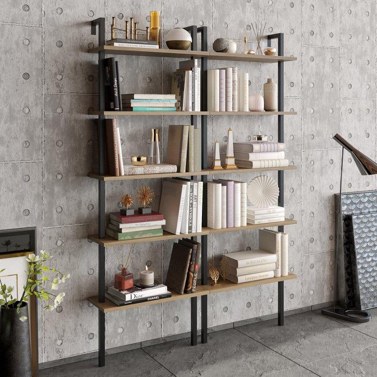 Piante 68'' Tall Metal Wood Accent Ladder Bookcase - Decorotika
