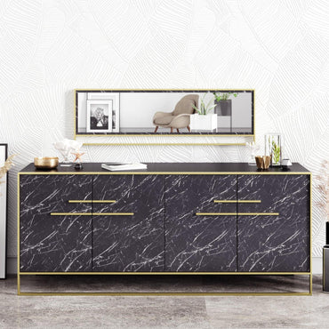 "Polka 71"" Metal Wood Sideboard with Framed Wall Mirror - Decorotika"