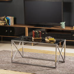 "Iliomer 37"" Wide Metal & Tempered Glass Coffee Table - Decorotika"