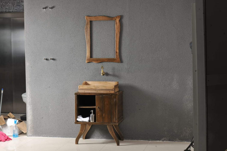 Classic Bathroom Solid Wood Cabinet with Two Cubby Shelves and Sink - Walnut - Decorotika
