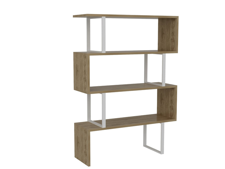 "Adriana 49"" Tall Metal Manufactured Wood Geometric Bookcase - Decorotika"