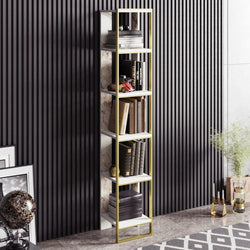Polka 70'' Tall Metal Wood Bookcase - Decorotika