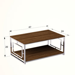 "Kelvin 47"" Metal Wood Coffee Table - Decorotika"