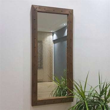 "Natural Solid Wood Frame 43"" Decorative Tempered Glass Mirror - Decorotika"