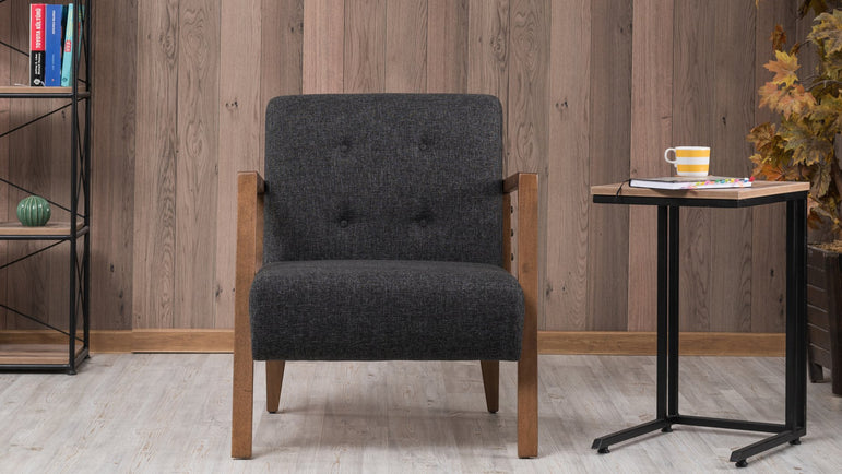 Kemer Bergere Lounge Armchair with Solid Wood Legs - Decorotika