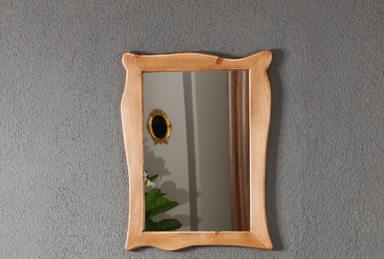 Classic Bathroom Solid Wood Stand, Sink and Framed Wall Mirror - Walnut - Decorotika