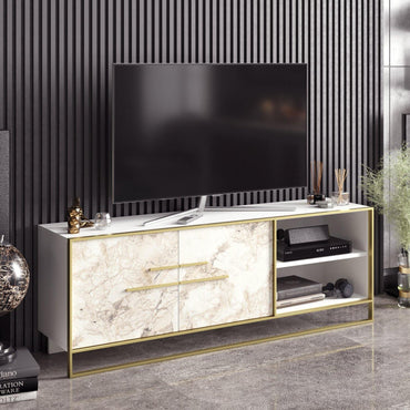 Polka 63'' Wide Metal Wood TV Stand & Media Console - Decorotika