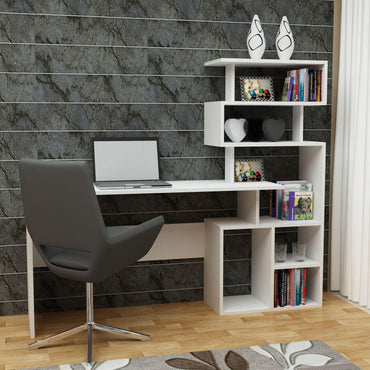 Next Generation Computer Desk with 53'' Tall Five Tier Open Shelves - Decorotika