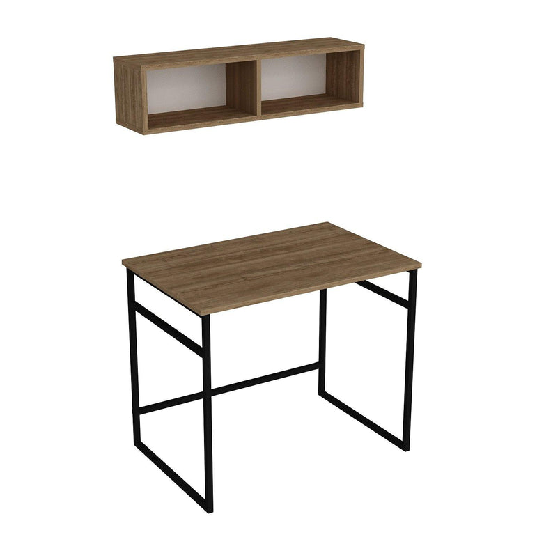 "Gama 35"" Wide Metal Wood Computer Desk with Wall Cubby Shelf - Decorotika"