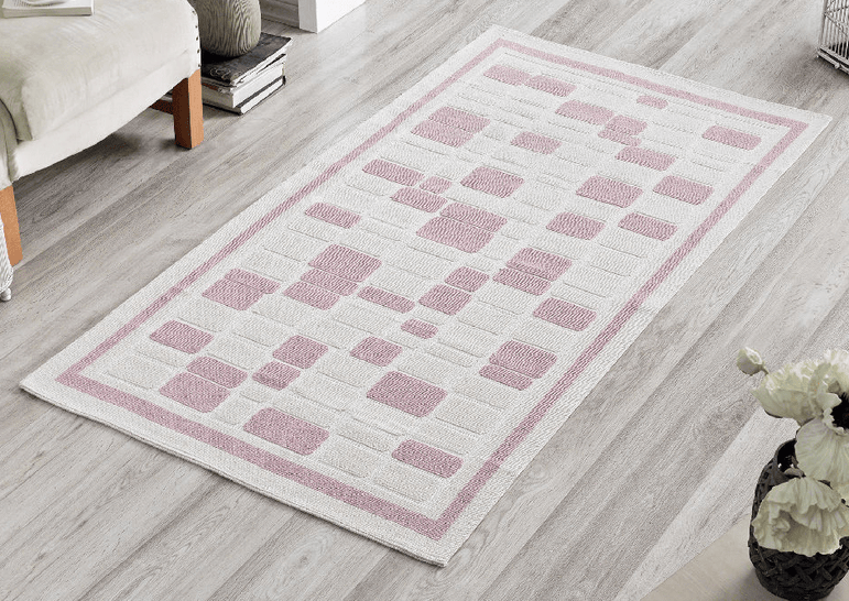 Mosaic 100% Cotton Bohemian Washable Area Rug - Light Pink and Off-White - Decorotika