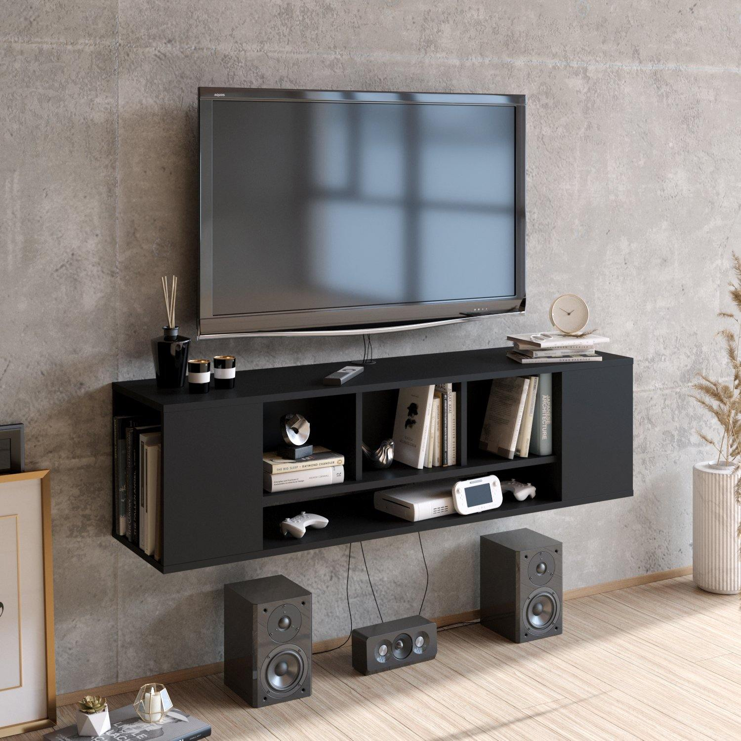 Paldi 53'' Wide Floating TV Stand and Media Console - Decorotika