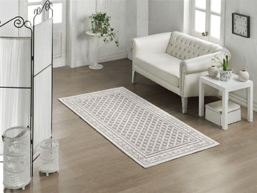 Pearl 100% Turkish Cotton Sanforized Washable Bohemian Area Rug with Various Size Options - Combination of Light Grey, White and Light Cream - Decorotika