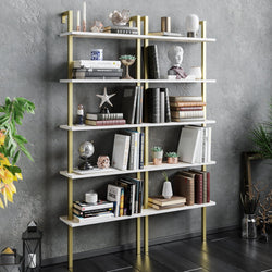 Piante 68'' Tall Metal Manufactured Wood Accent Ladder Bookcase - Decorotika