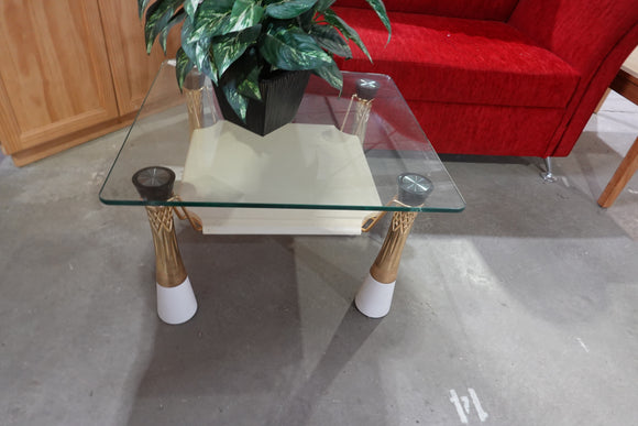 (New) glass coffee table with gold legs