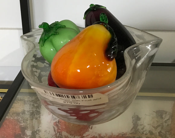 Art Glass Bowl with Fruit and Veggie