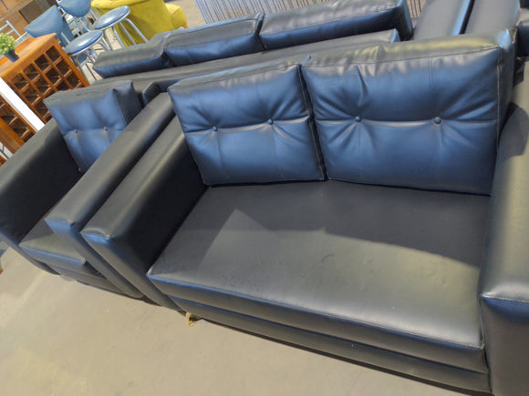 Black pleather 2 seater and single seater sofa