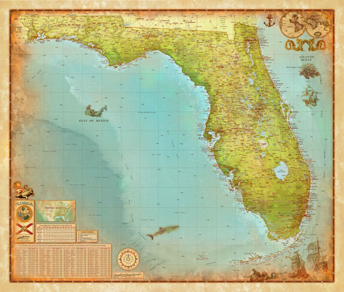 Florida Antique Wall Map - Houston Map Company