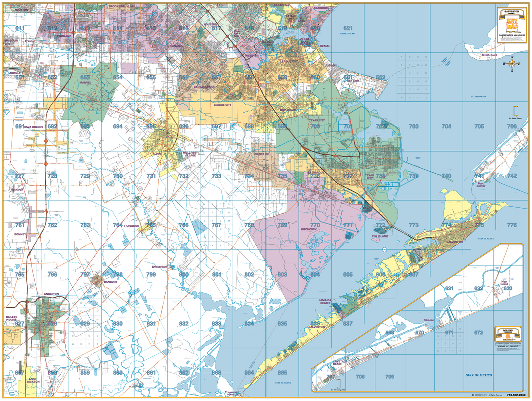 Galveston County Wall Map - Houston Map Company