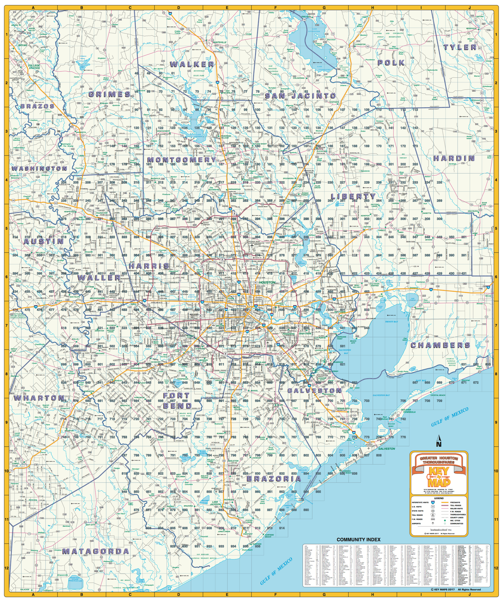 Greater Houston Area Zip Code Map.Greater Houston Thoroughfares 2018 Houston Map Company