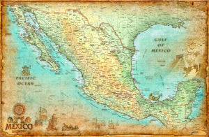Mexico Antique Wall Map - Houston Map Company