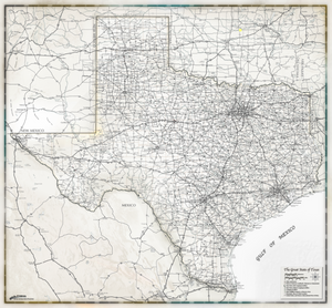 Gray Scale Texas Wall Map - 2018