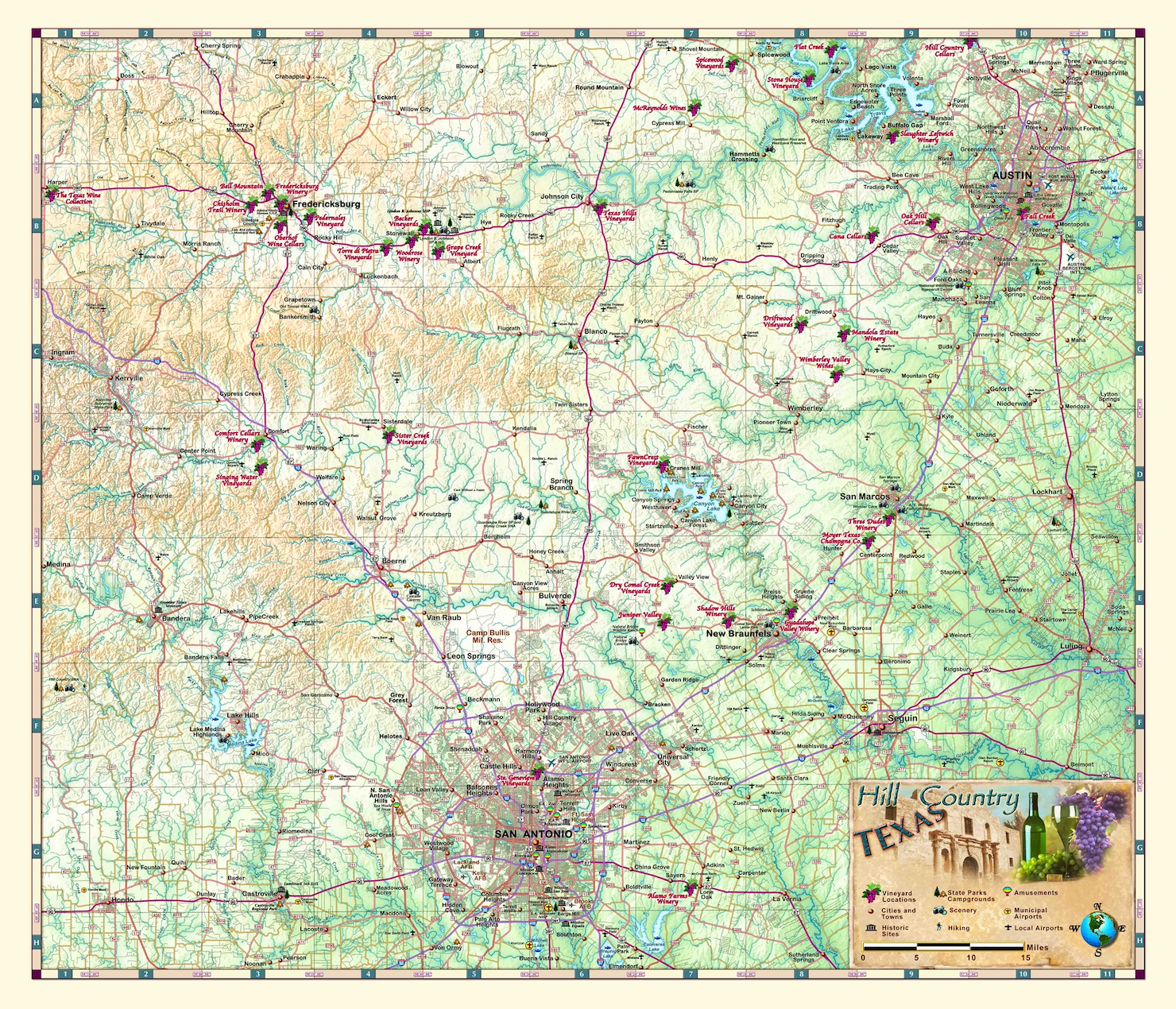Texas Hill Country Wine Wall Map Houston Map Company