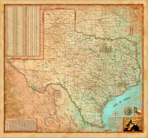 Texas Antique Wall Map - Houston Map Company