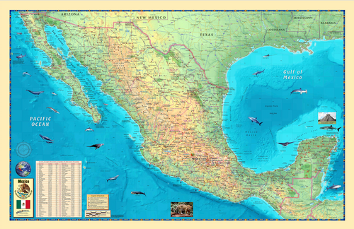 Mexico Wall Map - Houston Map Company