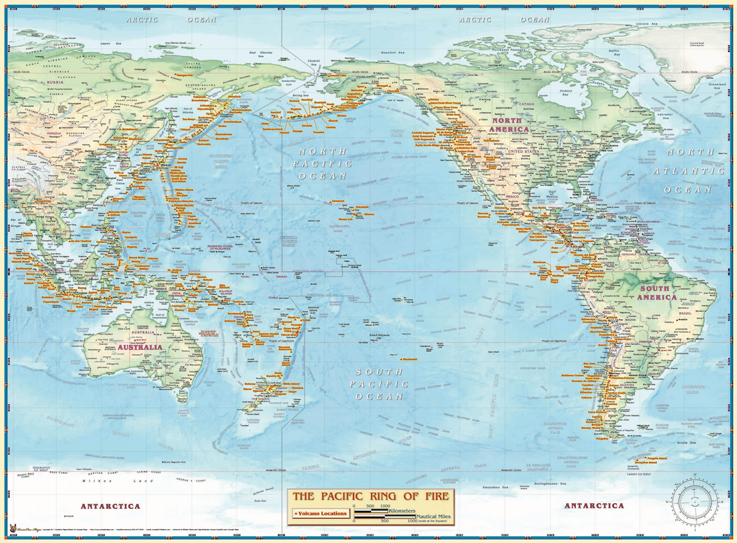 Pacific Ring of Fire Wall Map - Houston Map Company