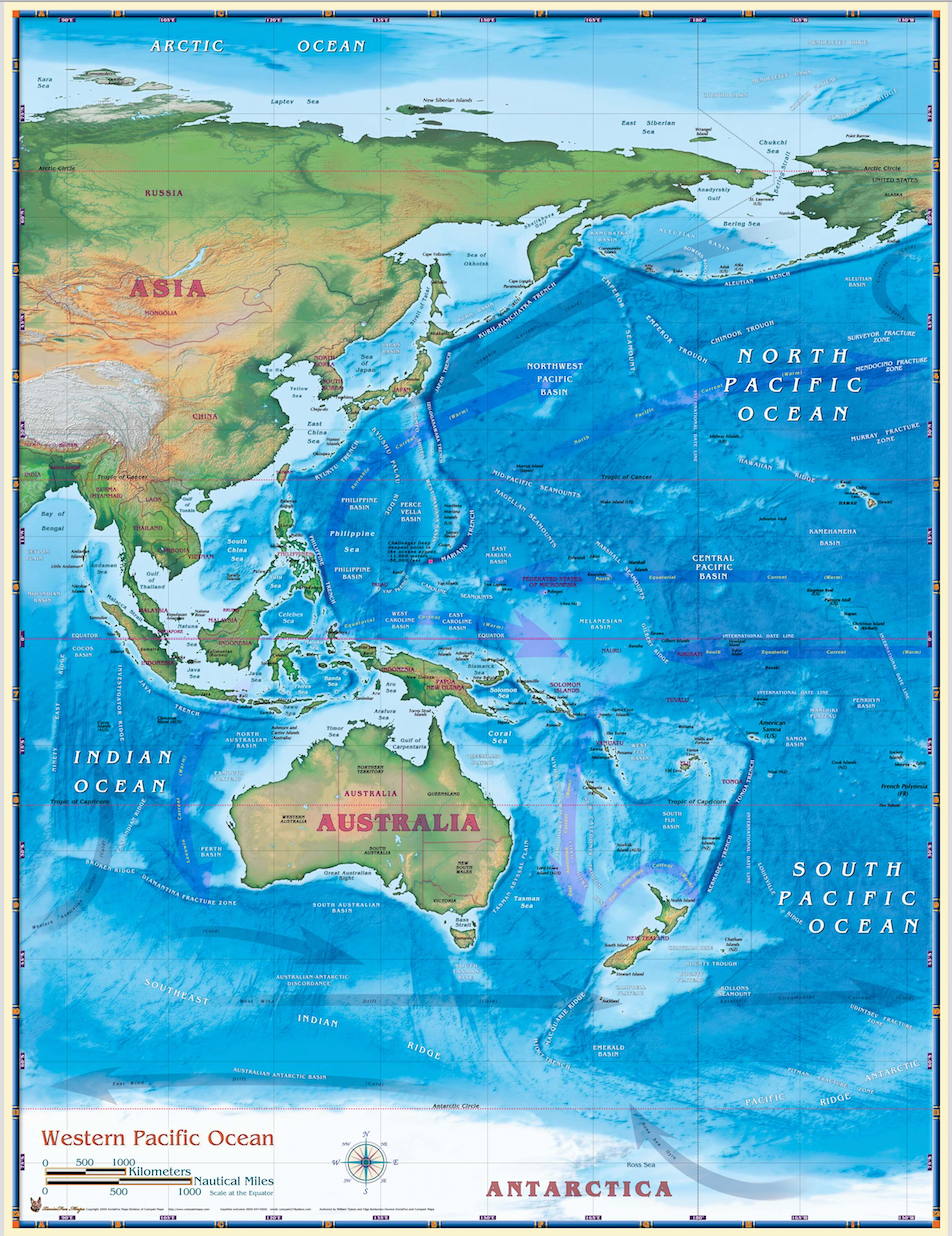 Western Pacific Ocean Map Houston Map Company - Pacific-ocean-on-us-map