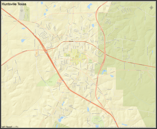 Huntsville Texas Mini-Map - Houston Map Company