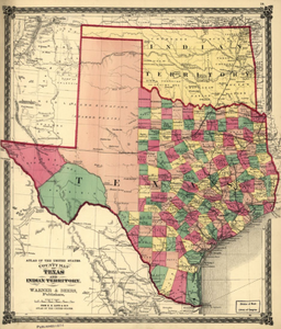 Map Of Texas With Counties.Texas County Map 1875 Houston Map Company