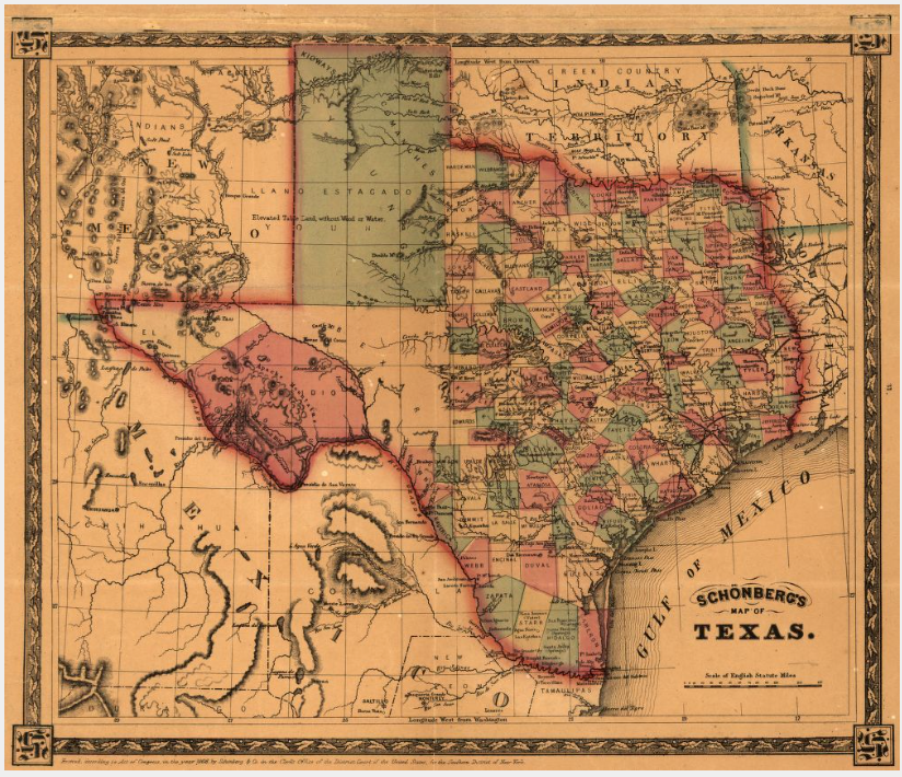Schönberg's map of Texas - Houston Map Company