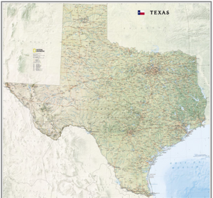 Texas National Geographic Wall Map - Houston Map Company