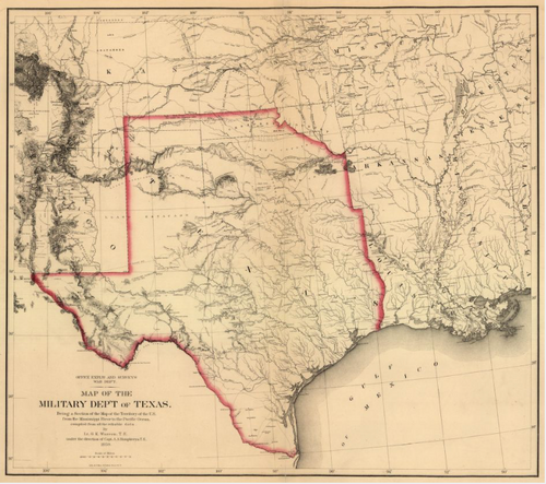 Map of the military dep't of Texas - Houston Map Company