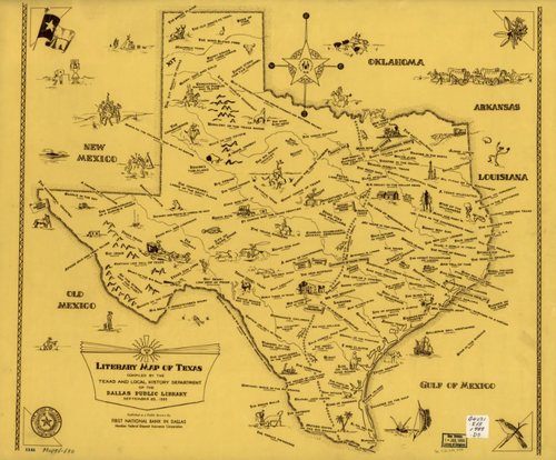 Literary Map of Texas - Houston Map Company
