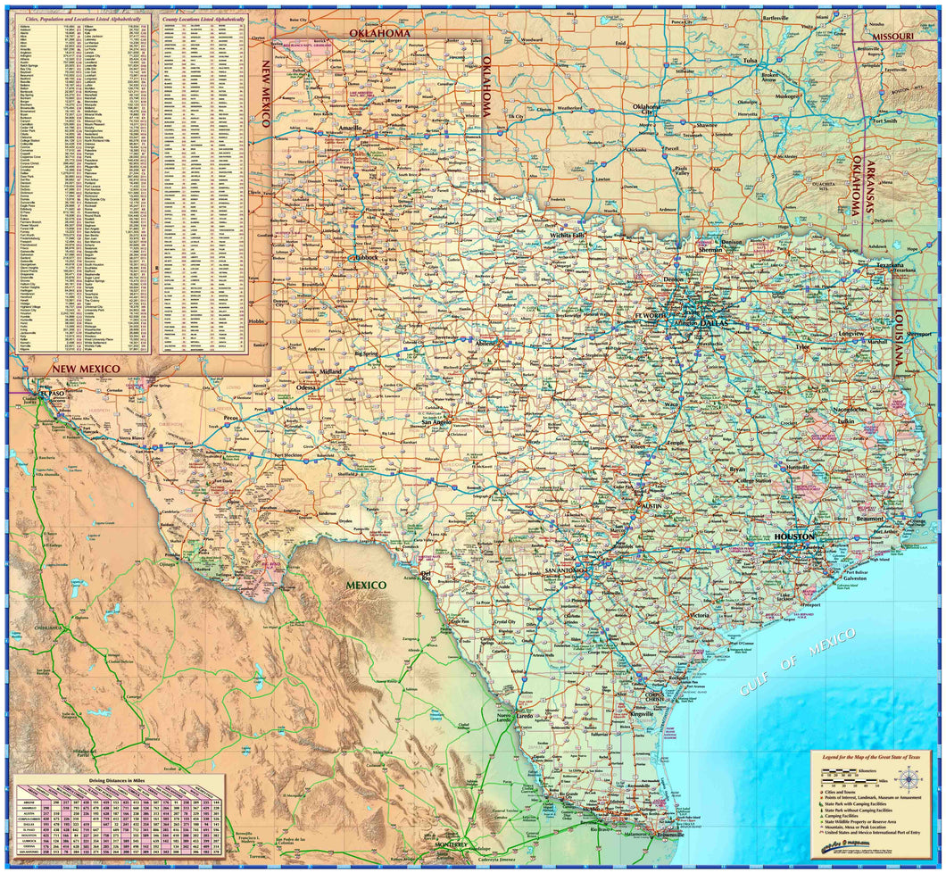 Texas Wall Map - 2018 - Houston Map Company