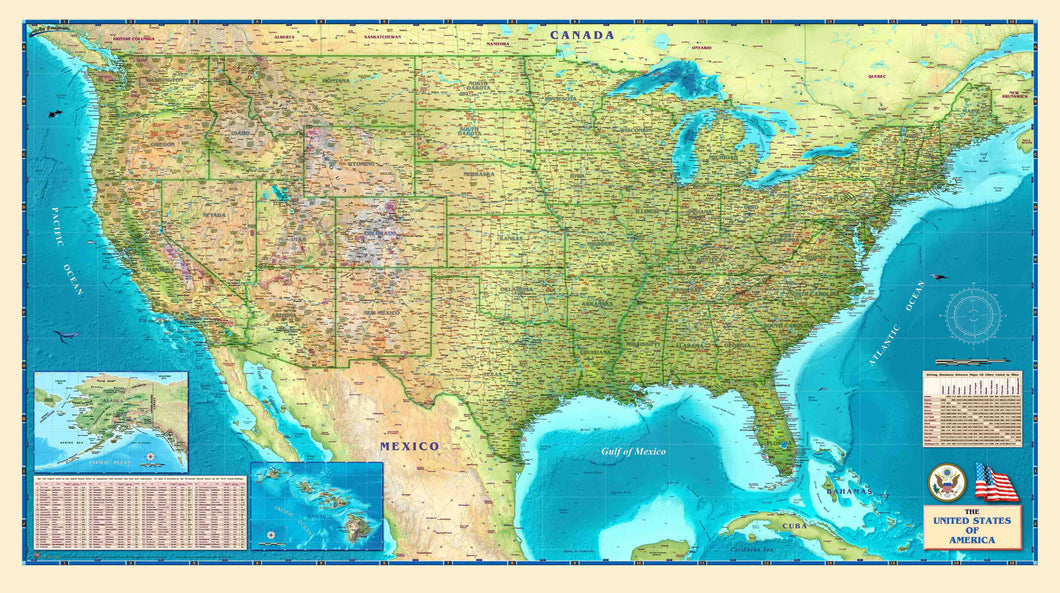 USA Physical Wall Map - Houston Map Company