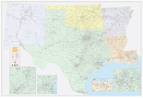 South Central USA - Texas, Arizona, Louisana, Arkansas, Oklahoma - Houston Map Company