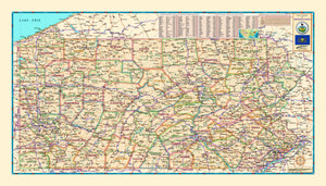 Pennsylvania Counties Wall Map - Houston Map Company