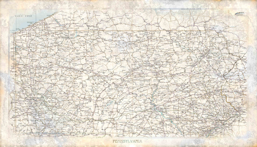 Pennsylvania Rustic Wall Map